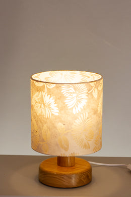 Round Wooden Table Lamp with 20cm x 20cm Lamp Shade in P09 ~ Batik Peony