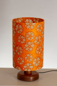 Round Wooden Table Lamp with 20cm x 30cm Lamp Shade in P94 - Batik Star Flower on Orange