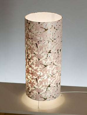 Free Standing Table Lamp Large - W02 - Pink Cherry Blossom on Grey Screen Printed Washi
