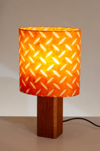 Square Sapele Table Lamp with Oval Lamp Shade P91 - Batik Tread Plate Orange