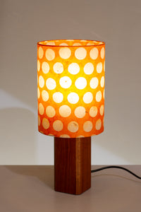 Square Sapele Table Lamp with 15x20cm Drum Lamp Shade B110