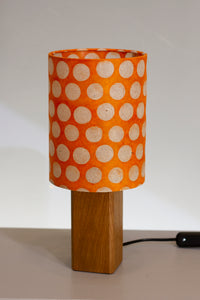 Square Oak Table Lamp with 15x20cm Drum Lamp Shade B110