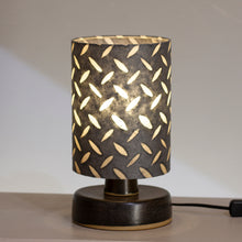 Round Grey Stoneware Table Lamp Base with Drum Lamp Shade P88 ~ 15cm X 20cm(h)