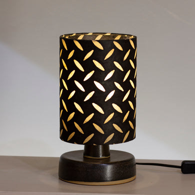 Round Grey Stoneware Table Lamp Base with 15cm X 20cm(h) Lamp Shade P11