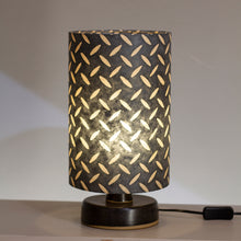 Round Grey Stoneware Table Lamp Base with Drum Lamp Shade P88 ~ 20cm X 30cm(h)