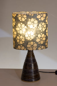 Stoneware Table Lamp Base - Dark Glaze - P77 Batik Starflower on Grey