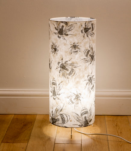 Free Standing Table Lamp Large - P42 ~ Bees Screen Print on Natural Lokta
