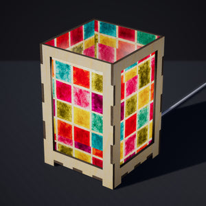 Laser Cut Plywood Table Lamp - Large - P01 - Batik Multi Square