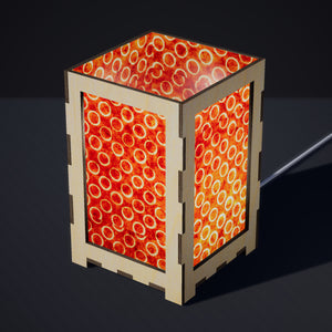 Laser Cut Plywood Table Lamp - Large - P03 ~ Batik Orange Circles