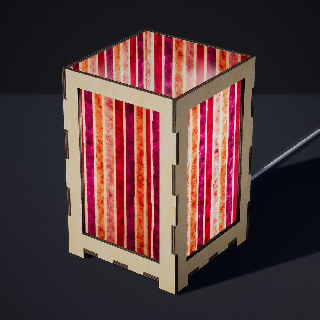 Laser Cut Plywood Table Lamp - Large - P04 ~ Batik Stripes Pink