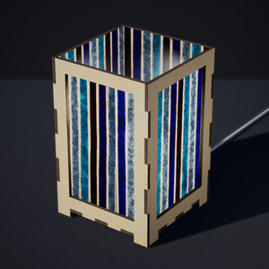 Laser Cut Plywood Table Lamp - Large - P05 ~ Batik Stripes Blue