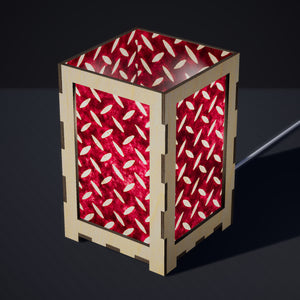 Laser Cut Plywood Table Lamp - Large - P14 ~ Batik Tread Plate Cranberry