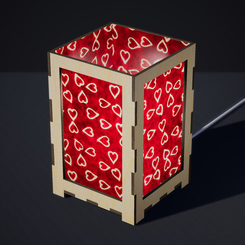 Laser Cut Plywood Table Lamp - Large - P16 ~ Batik Hearts on Cranberry