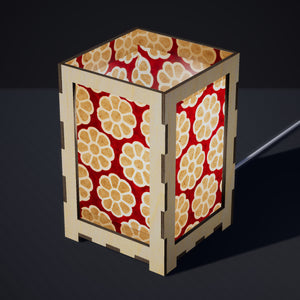Laser Cut Plywood Table Lamp - Large - P18 ~ Batik Big Flower on Red