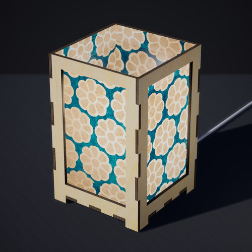Laser Cut Plywood Table Lamp - Large - P23 ~ Batik Big Flower on Teal
