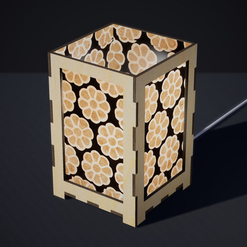 Laser Cut Plywood Table Lamp - Large - P24 ~ Batik Big Flower on Black