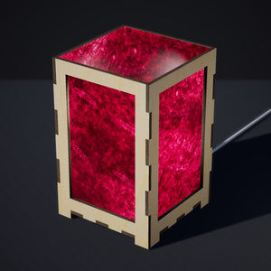 Laser Cut Plywood Table Lamp - Large - P25 ~ Resistance Dyed Pink Fern