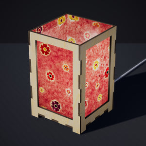 Laser Cut Plywood Table Lamp - Large - P36 ~ Batik Multi Flower on Pink
