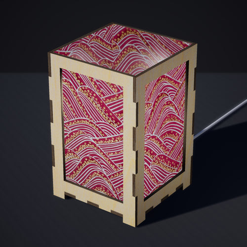 Laser Cut Plywood Table Lamp - Large - W04 ~ Pink Hills with Gold Flowers