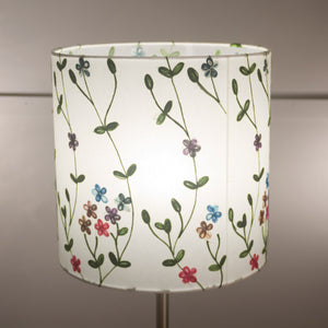 Drum Lamp Shade - P43 - Embroidered Flowers on White, 30cm(d) x 30cm(h)