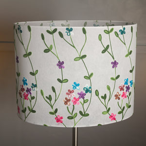 Oval Lamp Shade - P43 - Embroidered Flowers on White, 40cm(w) x 30cm(h) x 30cm(d)