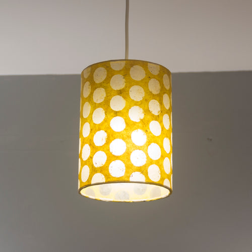 Drum Lamp Shade - P86 ~ Batik Dots on Yellow, 15cm(d) x 20cm(h)
