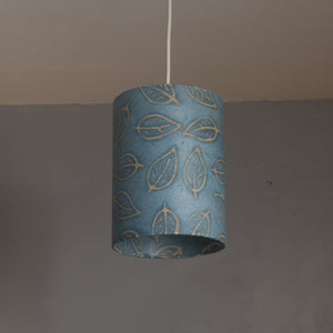 Drum Lamp Shade - P31 - Batik Leaf on Blue, 15cm(d) x 20cm(h)