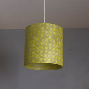 Drum Lamp Shade - P02 - Batik Lime Circles, 30cm(d) x 30cm(h)