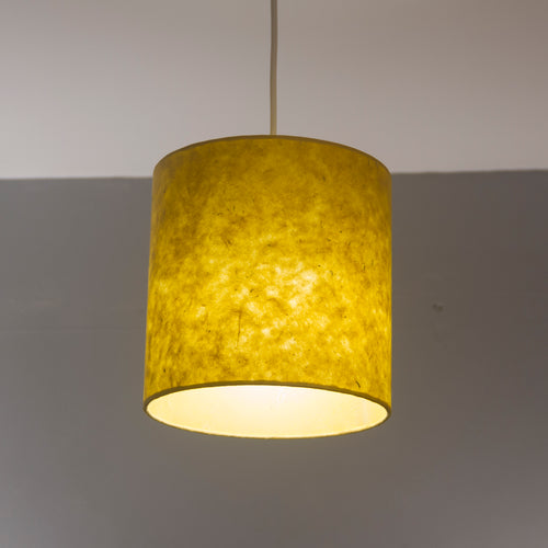 Drum Lamp Shade - P62 - Yellow Lokta, 20cm(d) x 20cm(h)