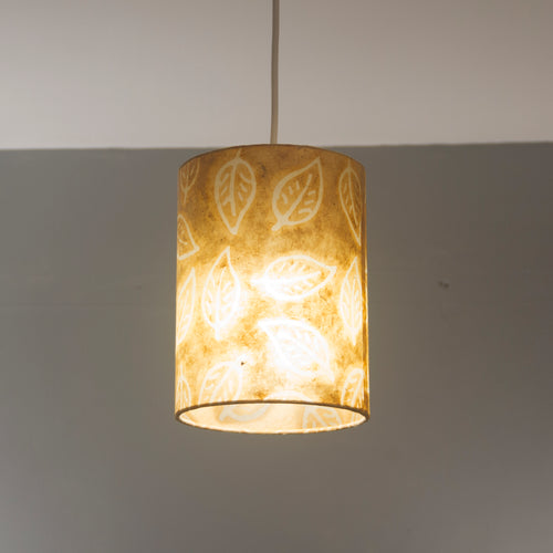 Drum Lamp Shade - P66 - Batik Leaf on Camel, 15cm(d) x 20cm(h)