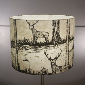Drum Lamp Shade - Deers on Natural, 40cm(d) x 30cm(h)
