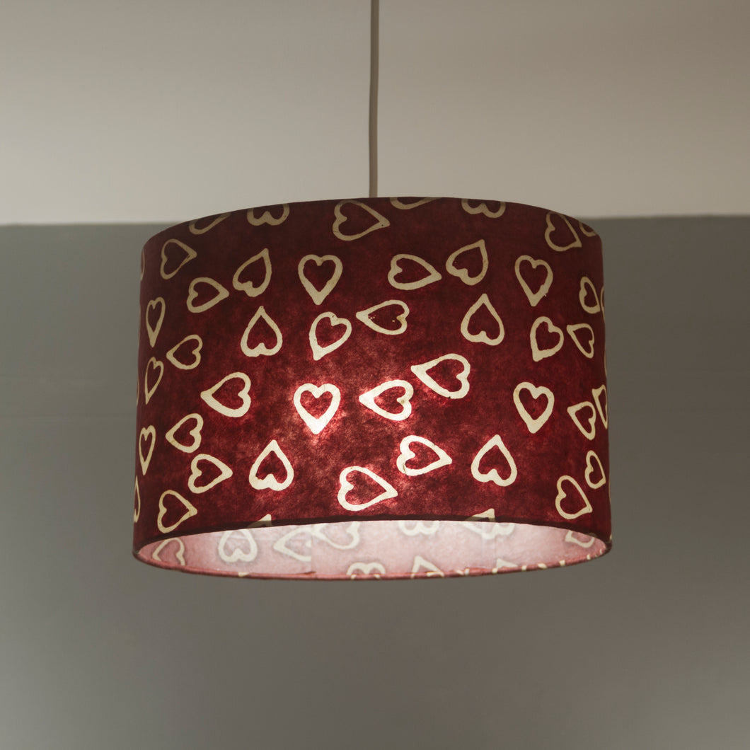 Oval Lamp Shade - P16 - Batik Hearts on Cranberry, 30cm(w) x 20cm(h) x 22cm(d)