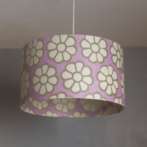 Drum Lamp Shade - P21 - Batik Big Flower on Lilac, 35cm(d) x 20cm(h)