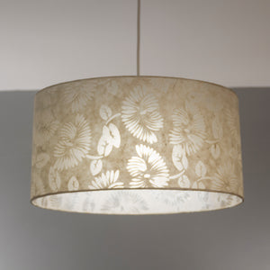 Drum Lamp Shade - P09 - Batik Peony on Natural, 70cm(d) x 30cm(h)