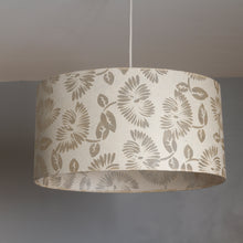 Oval Lamp Shade - P09 - Batik Peony on Natural, 30cm(w) x 30cm(h) x 22cm(d)
