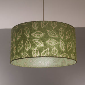 Oval Lamp Shade - P29 - Batik Leaf on Green, 30cm(w) x 30cm(h) x 22cm(d)