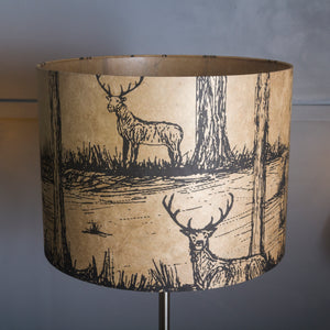 Drum Lamp Shade - Deers on Light Brown, 40cm(d) x 30cm(h)