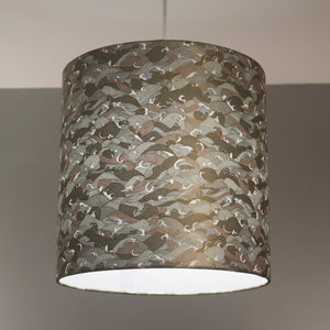 Drum Lamp Shade - W03 ~ Gold Waves on Greys, 30cm(d) x 30cm(h)