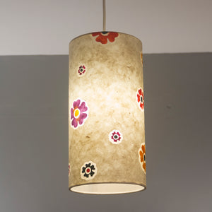 Drum Lamp Shade - P35 - Batik Multi Flower on Natural, 15cm(d) x 30cm(h)
