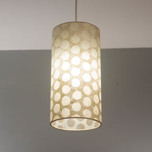 Drum Lamp Shade - P85 ~ Batik Dots on Natural, 15cm(d) x 30cm(h)