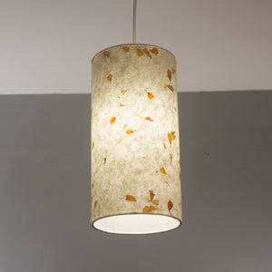 Drum Lamp Shade - P32 - Marigold Petals on Natural Lokta, 15cm(d) x 30cm(h)