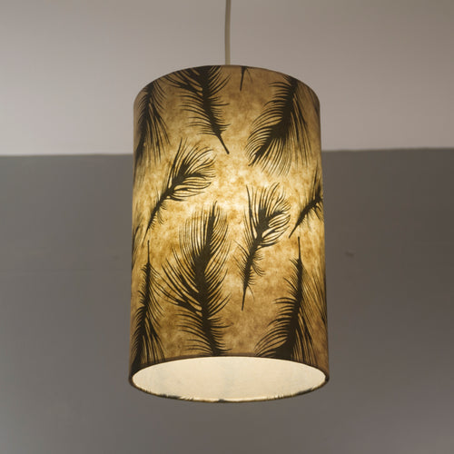 Drum Lamp Shade - B102 - Black Feather, 20cm(d) x 30cm(h)