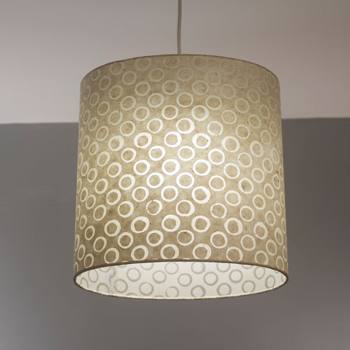 Oval Lamp Shade - P74 - Batik Natural Circles, 30cm(w) x 30cm(h) x 22cm(d)