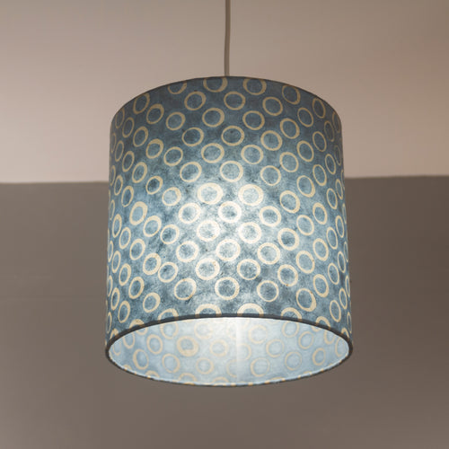 Drum Lamp Shade - P72 - Batik Blue Circles, 25cm x 25cm