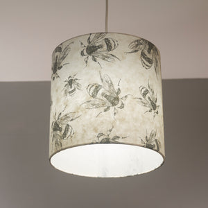 Square Lamp Shade - P42 - Bees Screen Print on Natural Lokta, 40cm(w) x 20cm(h) x 40cm(d)