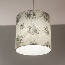 Oval Lamp Shade - P42 - Bees Screen Print on Natural Lokta, 30cm(w) x 30cm(h) x 22cm(d)