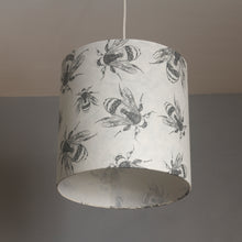 Square Lamp Shade - P42 - Bees Screen Print on Natural Lokta, 40cm(w) x 40cm(h) x 40cm(d)