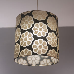 Drum Lamp Shade - P24 -Batik Big Flower on Black, 15cm(d) x 20cm(h)