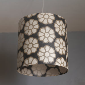 Oval Lamp Shade - P24 -Batik Big Flower on Black, 30cm(w) x 30cm(h) x 22cm(d)