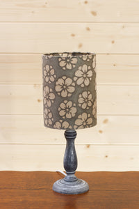 Paros Wooden Table Lamp with a Drum Shade in P77 ~ Batik Star Flower Grey
